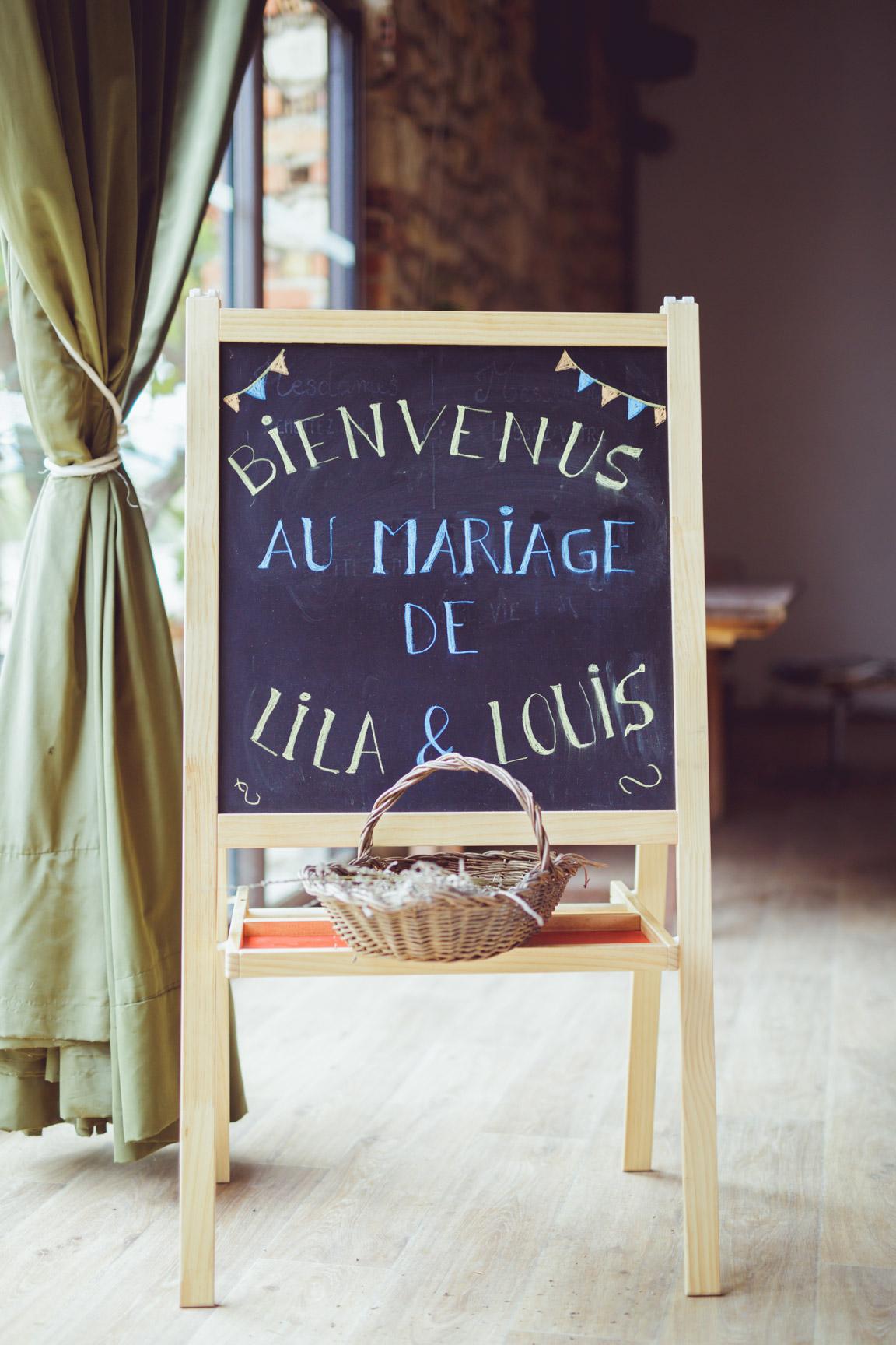 tableau en craie pour décoration de mariage