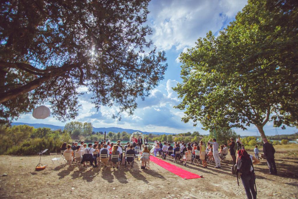 cérémonie de mariage en extérieur, sur la presqu'île de réal plantain