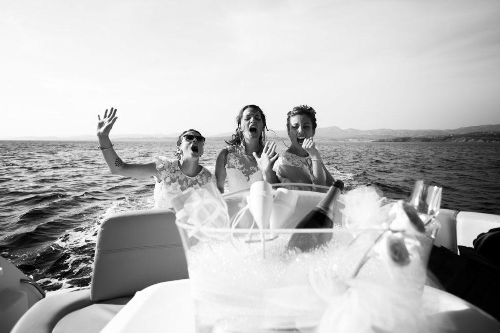 photographe de mariage à six-fours en bateau